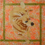 Gabby collage orange-green sq