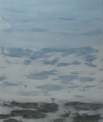 "Snow and Sky, November 2012--with L. Kalsta acrylic on canvas, 48"" x 36"" 2012"