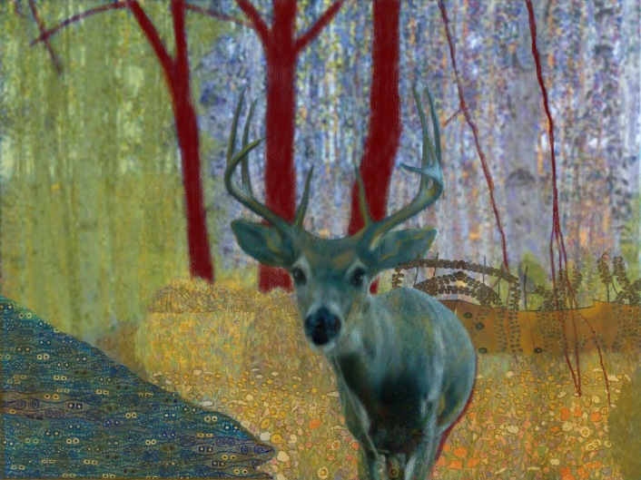 "blue klimt deer 1 - 2017 - digital print 5"" x 7"""