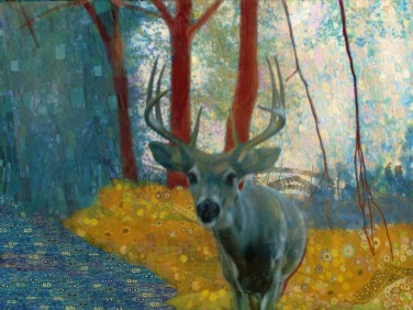 "blue klimt deer 3 - 2017 - digital print 5"" x 7"""
