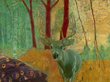 "green klimt deer 1 - 2017 - digital print 5"" x 7"""