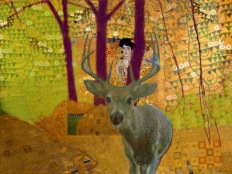 "yellow klimt deer 1 - 2017 - digital print 5"" x 7"""